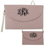 6006 - HOTPINK/WHITE SEER SUCKER CLUTCH/CROSS BODY/SHOULDER BAG