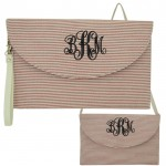 6006 - PINK SEER SUCKER CLUTCH/CROSS BODY/SHOULDER BAG