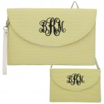 6006 - YELLOW SEER SUCKER CLUTCH/CROSS BODY/SHOULDER BAG