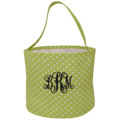 6007 - LIMEGREEN/WHITE POLKA DOTS ROUND FABRIC BASKET
