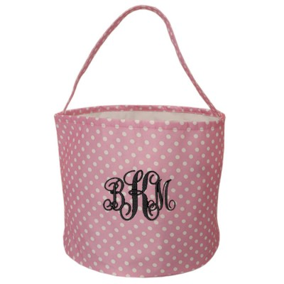 6007 - PINK/WHITE POLKA DOTS ROUND FABRIC BASKET