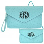 6012 - AQUA OSTRICH LEATHER CLUTCH / CROSS BODY / SHOULDER BAG