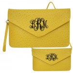 6012 - YELLOW OSTRICH LEATHER CLUTCH / CROSS BODY / SHOULDER BAG
