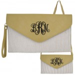 6024 - BEIGE SEER SUCKER LEATHER CLUTCH / CROSS BODY / SHOULDER BAG