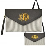 6024 - BLACK SEER SUCKER LEATHER CLUTCH / CROSS BODY / SHOULDER BAG