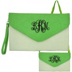 6024 - GREEN SEER SUCKER LEATHER CLUTCH / CROSS BODY / SHOULDER BAG
