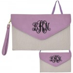 6024 - PURPLE SEER SUCKER LEATHER CLUTCH / CROSS BODY / SHOULDER BAG