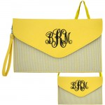 6024 - YELLOW SEER SUCKER LEATHER CLUTCH / CROSS BODY / SHOULDER BAG