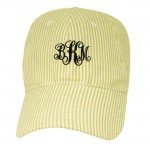 6016 - YELLOW COTTON SEER SUCKER CAP (MINIMUM 2)