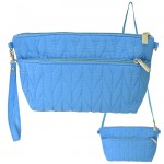 9008 - AQUA QUILTED CROSSBODY MESSENGER BAG
