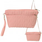 9008 - PINK QUILTED CROSSBODY MESSENGER BAG