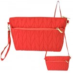 9008 - RED QUILTED CROSSBODY MESSENGER BAG