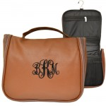 9011 - BROWN LEATHER MENS' TOILETRY BAG