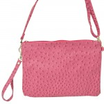 9028 - HOTPINK OSTRICH DESIGN CROSSBODY MESSENGER BAG
