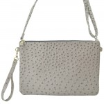 9028 - LIGHT GRAY OSTRICH DESIGN CROSSBODY MESSENGER BAG