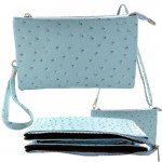9038 - AQUA OSTRICH LONG STRAP CROSSBODY BAG