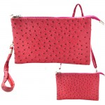 9038 - HOTPINK OSTRICH LONG STRAP CROSSBODY BAG