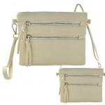 9039A - CREAM CROSSBODY MESSENGER BAG