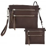 9039A - DARK BROWN CROSSBODY MESSENGER BAG