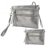 9039A - DARK SILVER CROSSBODY MESSENGER BAG