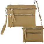 9039A - TAUPE CROSSBODY MESSENGER BAG
