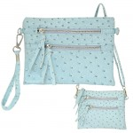 9039B - AQUA OSTRICH CROSSBODY MESSENGER BAG
