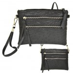 9039B - BLACK OSTRICH CROSSBODY MESSENGER BAG