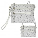 9039B - CREAM OSTRICH CROSSBODY MESSENGER BAG