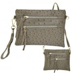 9039B - DARK GRAY OSTRICH CROSSBODY MESSENGER BAG