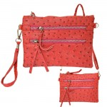 9039B - HOTPINK OSTRICH CROSSBODY MESSENGER BAG