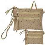 9039B - LIGHT BROWN OSTRICH CROSSBODY MESSENGER BAG
