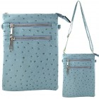 9040B - AQUA OSTRICH CROSSBODY MESSENGER BAG