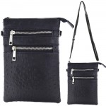 9040B - BLACK OSTRICH CROSSBODY MESSENGER BAG