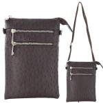 9040B - DARK BROWN OSTRICH CROSSBODY MESSENGER BAG