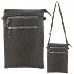 9040B - DARK GREY OSTRICH CROSSBODY MESSENGER BAG