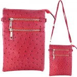9040B - HOTPINK OSTRICH CROSSBODY MESSENGER BAG