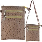 9040B - LIGHT BROWN OSTRICH CROSSBODY MESSENGER BAG
