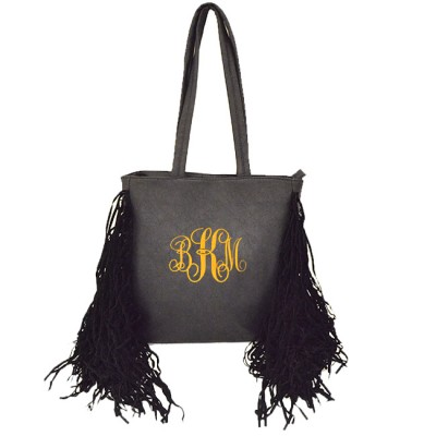 9032 - BLACK PU LEATHER FRINGE TOTE HANDBAG