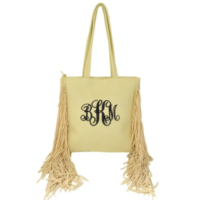 9032 - CREAM PU LEATHER FRINGE TOTE HANDBAG