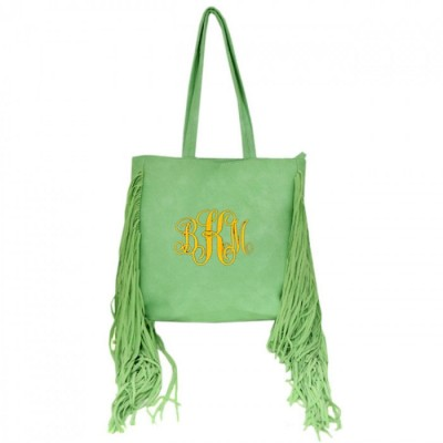 9032 -MINT PU LEATHER FRINGE TOTE HANDBAG