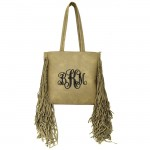 9032 - TAUPE PU LEATHER FRINGE TOTE HANDBAG
