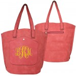 9035 - CORAL PU LEATHER  TOTE BAG