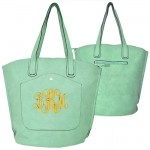 9035 - MINT PU LEATHER  TOTE BAG