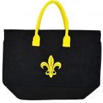 16-BK-Y-BLACK JUTE BAG W/YELLOW FLEUR DE LIS
