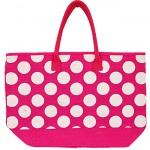 4PKWT-PINK JUTE BAG W/WHITE DOTS