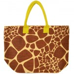 J261YL-GIRAFFE JUTE BAG W/ YELLOW HANDLE