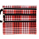 SMALL HOUNDSTOOTH RED BAG