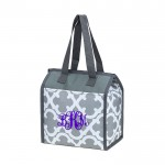 32536 - GREY QUATREFOIL DESIGN INSULATED LUNCH BAG
