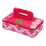32558-PINK QUATREFOIL DESIGN INSULATED CASSEROLE CARRIER W/HANDLE