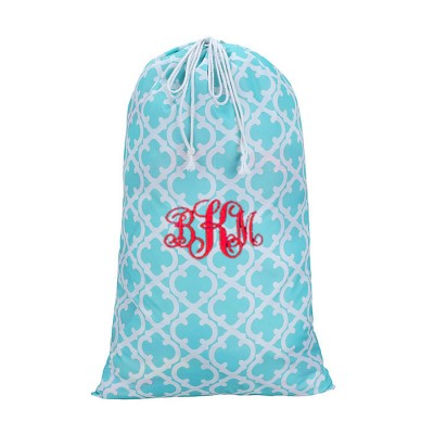 32614-AQUA QUATREFOIL DESIGN LAUNDRY BAG